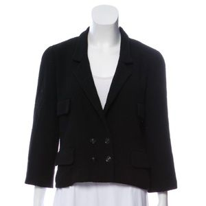 Chanel Vintage Black Bouclé Notch Lapel Blazer